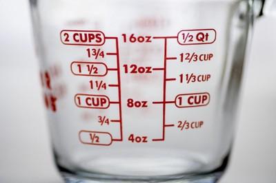 ガラス製のメジャーカップ