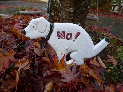 犬の形の禁止看板