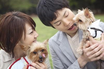 男女と二匹の犬