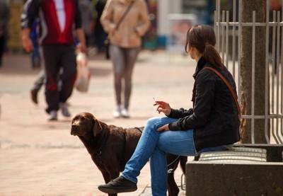 座ってタバコを吸う飼い主のそばにいる犬
