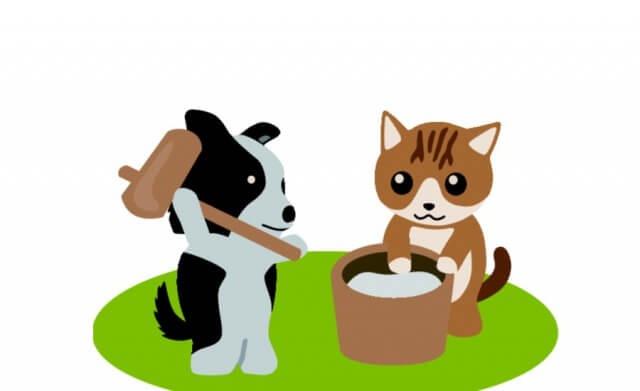 餅つきをする犬と猫のイラスト