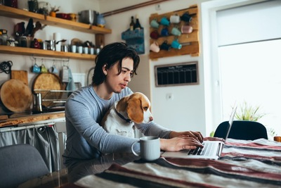 パソコン作業をする飼い主さんの膝に乗る犬