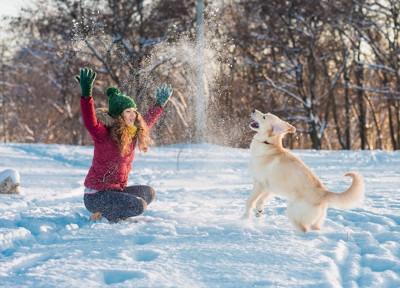 雪の中で一緒に遊ぶ女性と犬