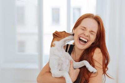抱っこされて女性の顔をなめる犬
