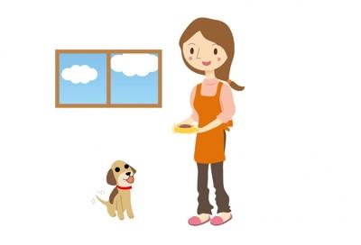 犬と食事を与える女性(イラスト)