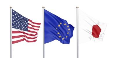 アメリカ、EU、日本の旗