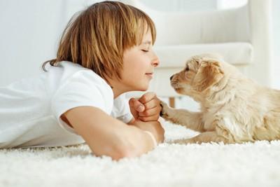 少年と子犬