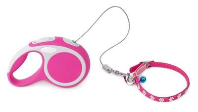 ピンクの伸縮リード