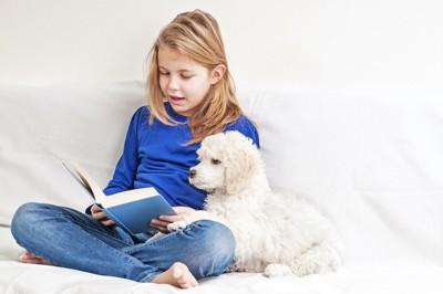 犬と一緒に本を読む女の子