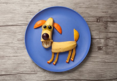 バナナやフルーツで出来た犬