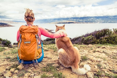 景色を眺めている女性と犬の後ろ姿