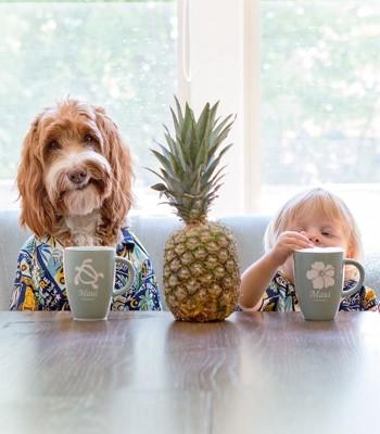 パインアップルと犬と子供