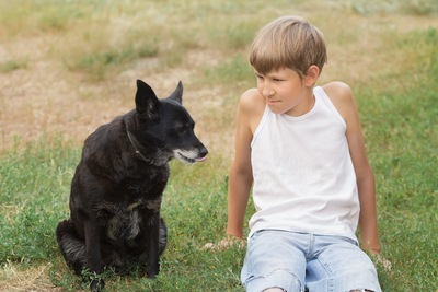 芝生の上に座る少年と黒い犬