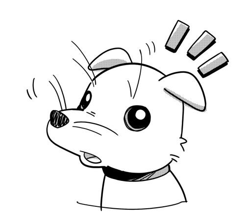 ひげの長い犬のイラスト