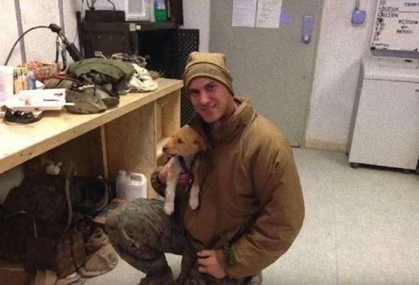 ベージュのジャケットを着た男性と子犬