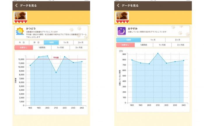 2コマ「かつどう」と「おやすみ」のグラフ