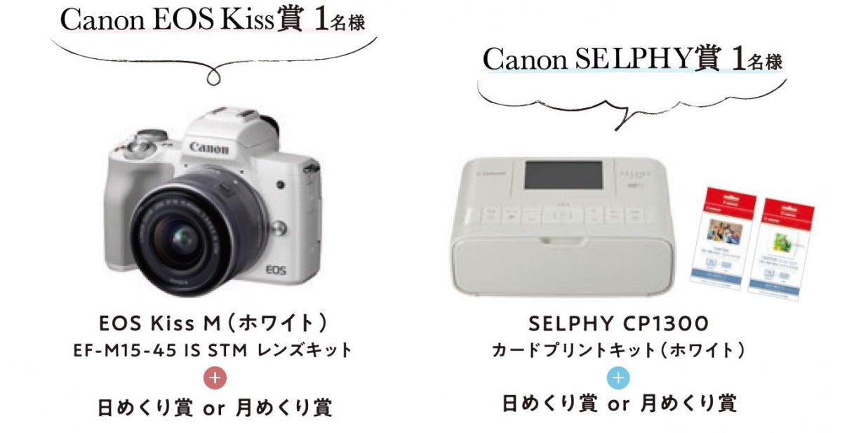 CanonEoskiss賞1名様 CanonSELPHY賞1名様